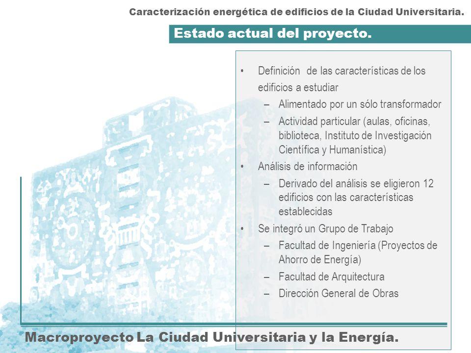 Estado actual del proyecto. Macroproyecto La Ciudad Universitaria y la Energía. Definición de las características de los edificios a estudiar –Aliment