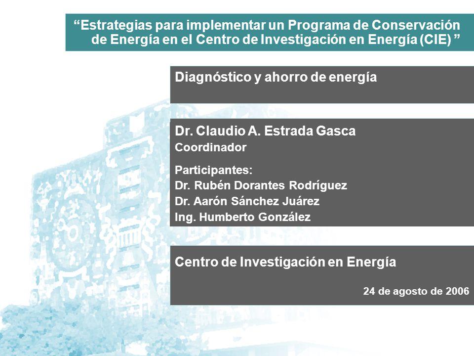 Diagnóstico y ahorro de energía Dr. Claudio A. Estrada Gasca Coordinador Participantes: Dr.