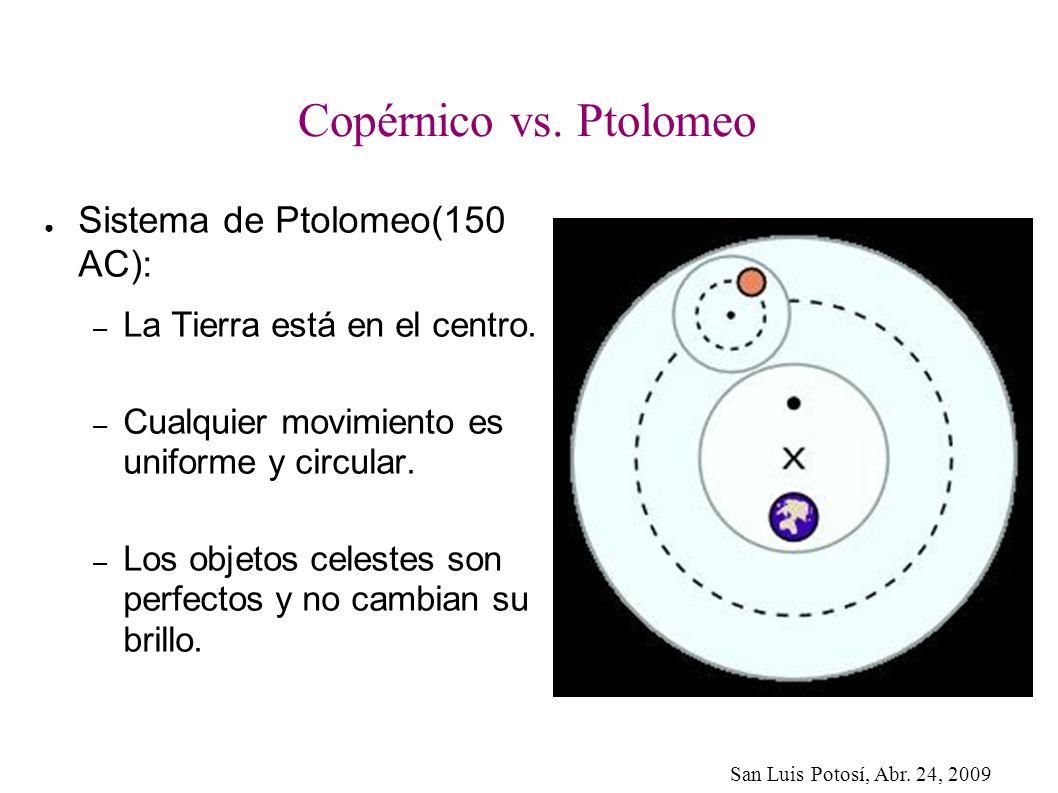 San Luis Potosí, Abr. 24, 2009 Copérnico vs. Ptolomeo Sistema de Ptolomeo(150 AC): – La Tierra está en el centro. – Cualquier movimiento es uniforme y