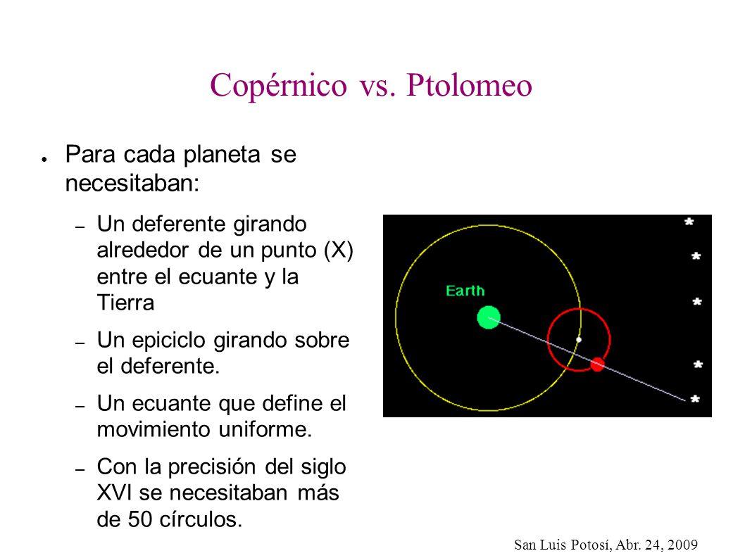 San Luis Potosí, Abr. 24, 2009 Copérnico vs. Ptolomeo Para cada planeta se necesitaban: – Un deferente girando alrededor de un punto (X) entre el ecua