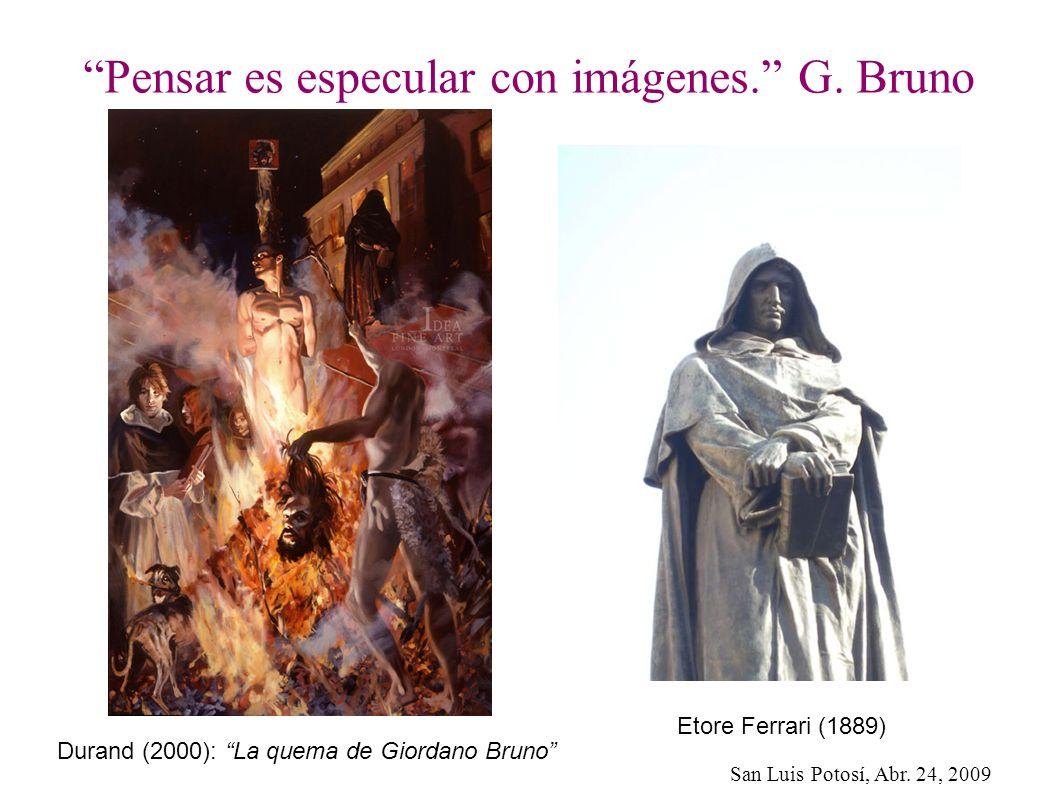 San Luis Potosí, Abr. 24, 2009 Pensar es especular con imágenes. G. Bruno Durand (2000): La quema de Giordano Bruno Etore Ferrari (1889)