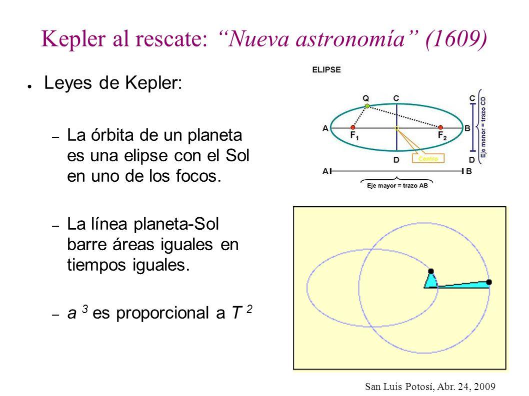 San Luis Potosí, Abr. 24, 2009 Kepler al rescate: Nueva astronomía (1609) Leyes de Kepler: – La órbita de un planeta es una elipse con el Sol en uno d