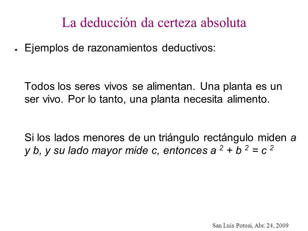 San Luis Potosí, Abr. 24, 2009 La deducción da certeza absoluta Ejemplos de razonamientos deductivos: Todos los seres vivos se alimentan. Una planta e