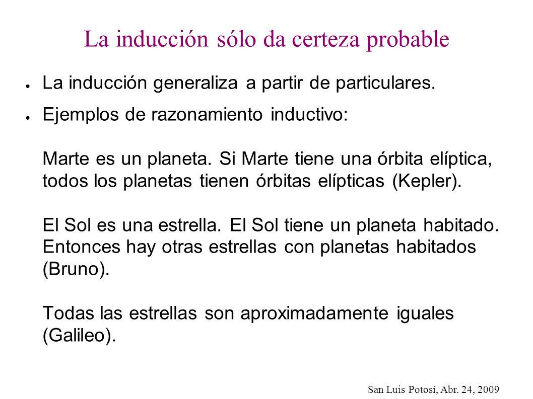 San Luis Potosí, Abr. 24, 2009 La inducción sólo da certeza probable La inducción generaliza a partir de particulares. Ejemplos de razonamiento induct