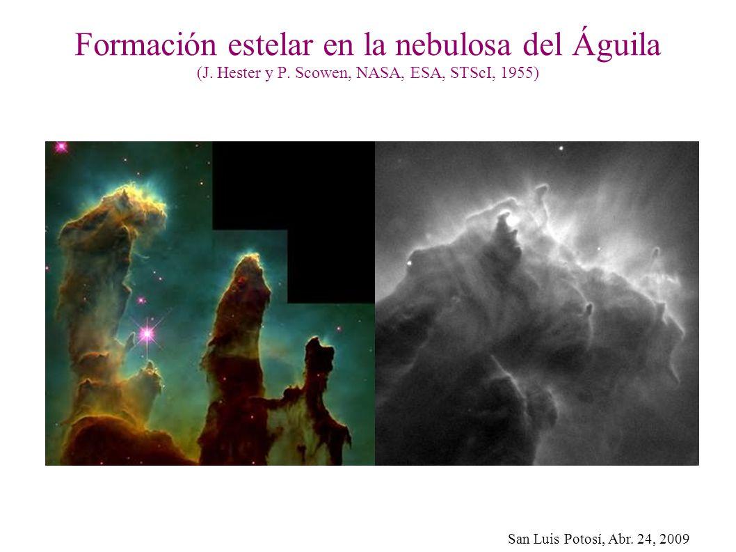 San Luis Potosí, Abr. 24, 2009 Formación estelar en la nebulosa del Águila (J. Hester y P. Scowen, NASA, ESA, STScI, 1955)