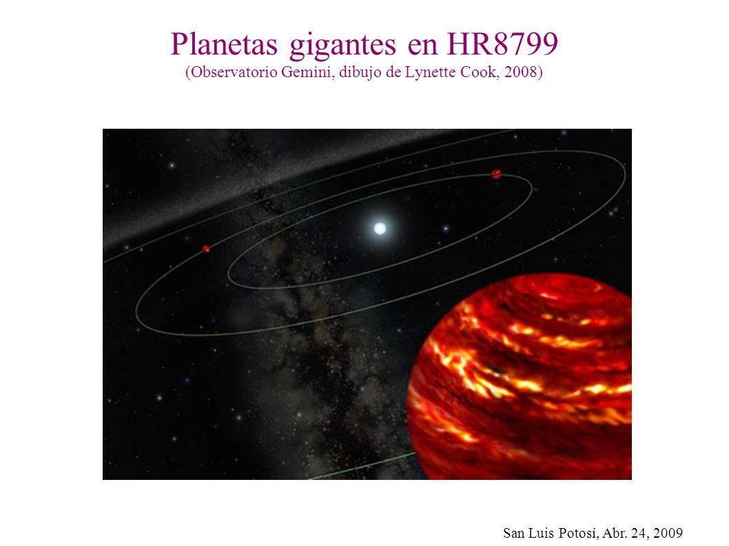 San Luis Potosí, Abr. 24, 2009 Planetas gigantes en HR8799 (Observatorio Gemini, dibujo de Lynette Cook, 2008)