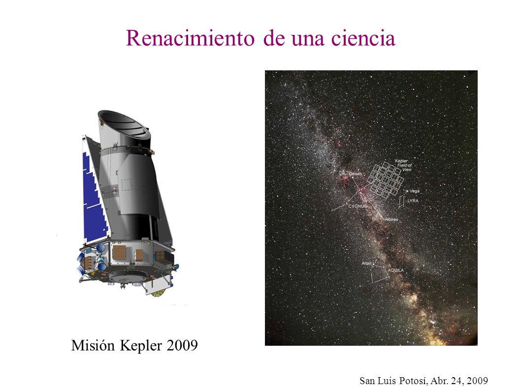 San Luis Potosí, Abr. 24, 2009 Renacimiento de una ciencia Misión Kepler 2009