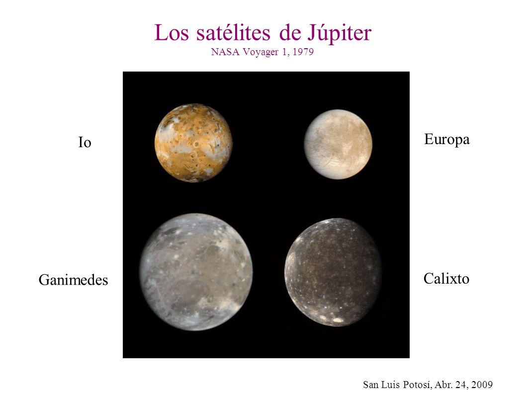 San Luis Potosí, Abr. 24, 2009 Los satélites de Júpiter NASA Voyager 1, 1979 Io Europa Ganimedes Calixto