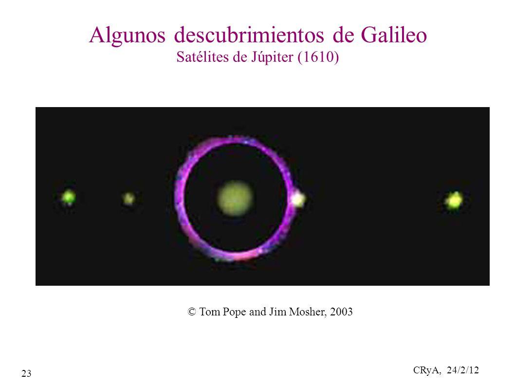 CRyA, 24/2/12 23 Algunos descubrimientos de Galileo Satélites de Júpiter (1610) © Tom Pope and Jim Mosher, 2003