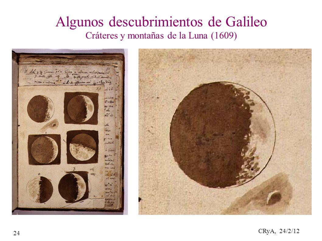 CRyA, 24/2/12 24 Algunos descubrimientos de Galileo Cráteres y montañas de la Luna (1609)