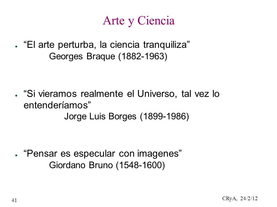 CRyA, 24/2/12 41 Arte y Ciencia El arte perturba, la ciencia tranquiliza Georges Braque (1882-1963) Si vieramos realmente el Universo, tal vez lo entenderíamos Jorge Luis Borges (1899-1986) Pensar es especular con imagenes Giordano Bruno (1548-1600)