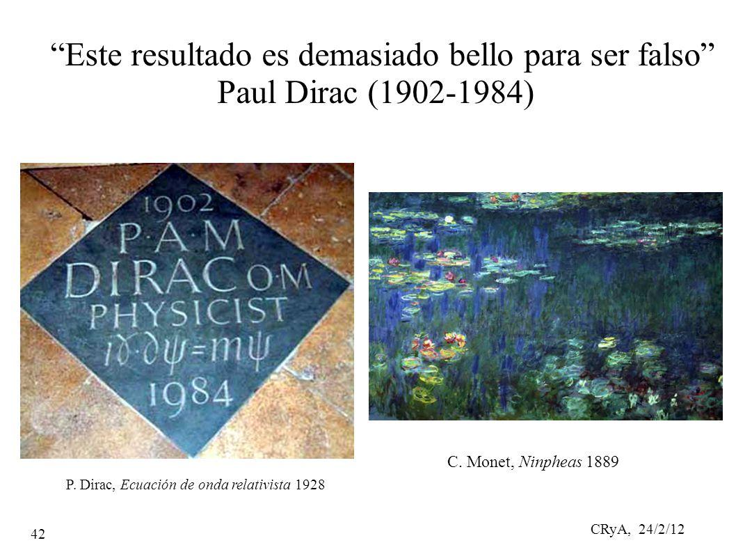 CRyA, 24/2/12 42 Este resultado es demasiado bello para ser falso Paul Dirac (1902-1984) Este resultado es demasiado bello para ser falso Paul Dirac (1902-1984) C.