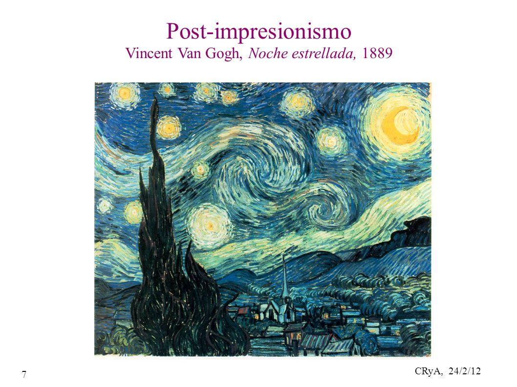 CRyA, 24/2/12 7 Post-impresionismo Vincent Van Gogh, Noche estrellada, 1889