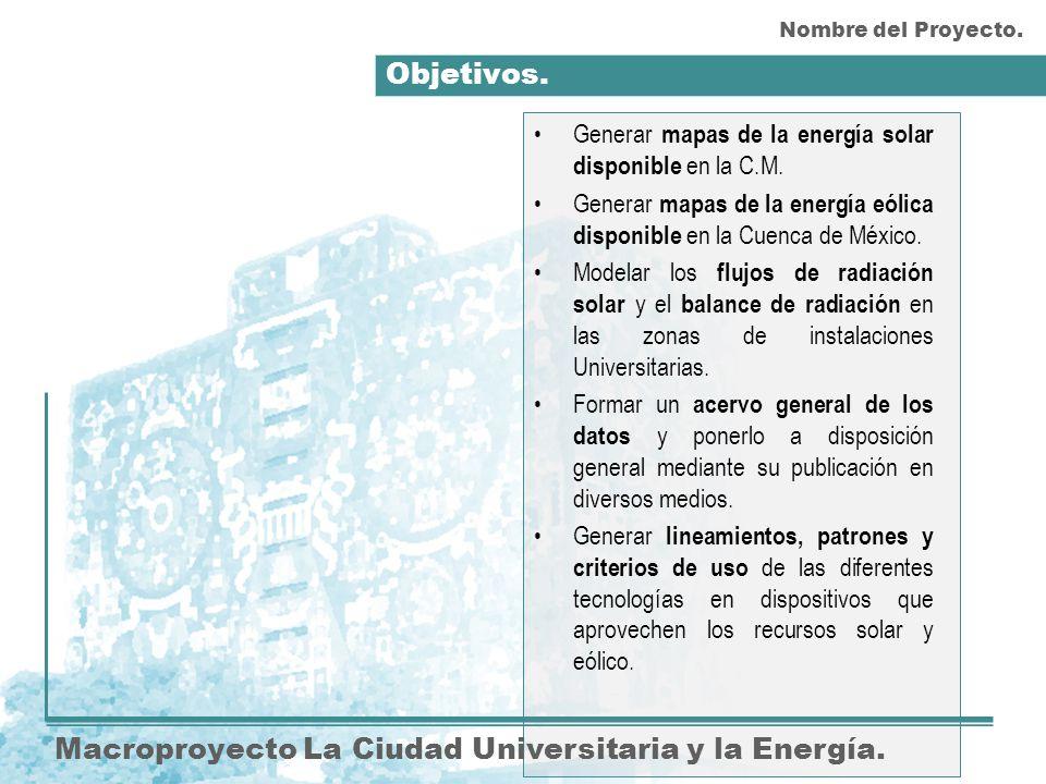 Objetivos. Macroproyecto La Ciudad Universitaria y la Energía. Generar mapas de la energía solar disponible en la C.M. Generar mapas de la energía eól