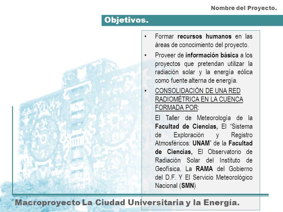 Objetivos. Macroproyecto La Ciudad Universitaria y la Energía. Formar recursos humanos en las áreas de conocimiento del proyecto. Proveer de informaci