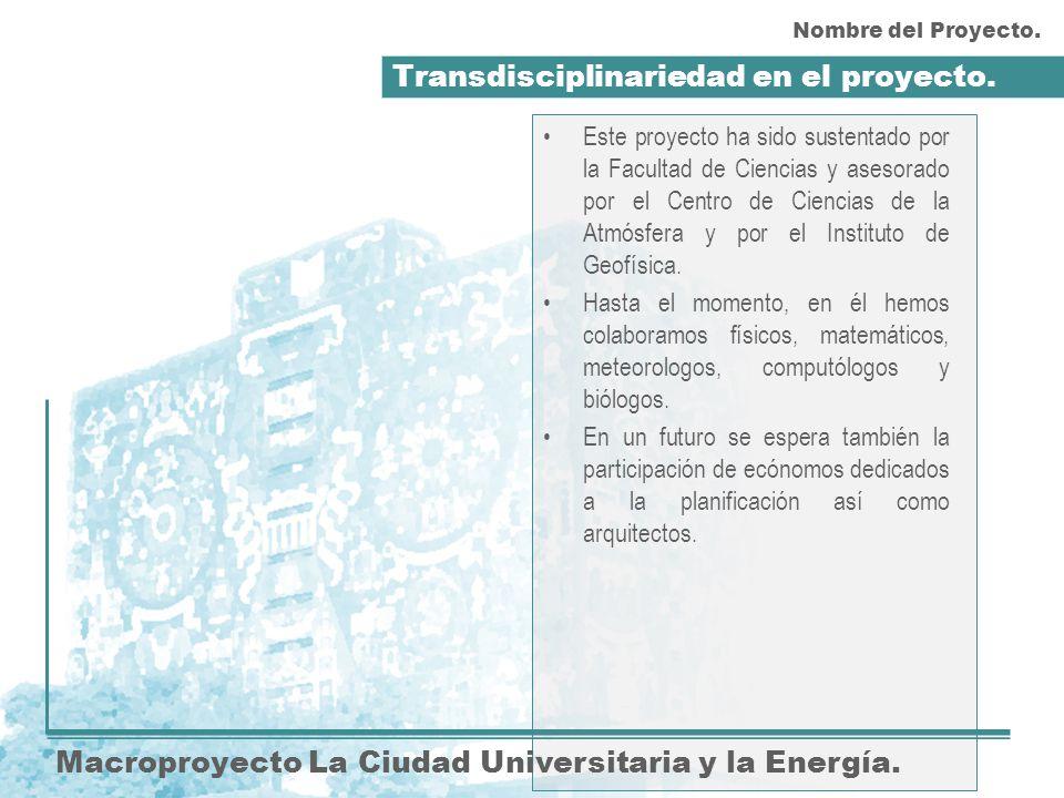 Transdisciplinariedad en el proyecto. Macroproyecto La Ciudad Universitaria y la Energía. Este proyecto ha sido sustentado por la Facultad de Ciencias