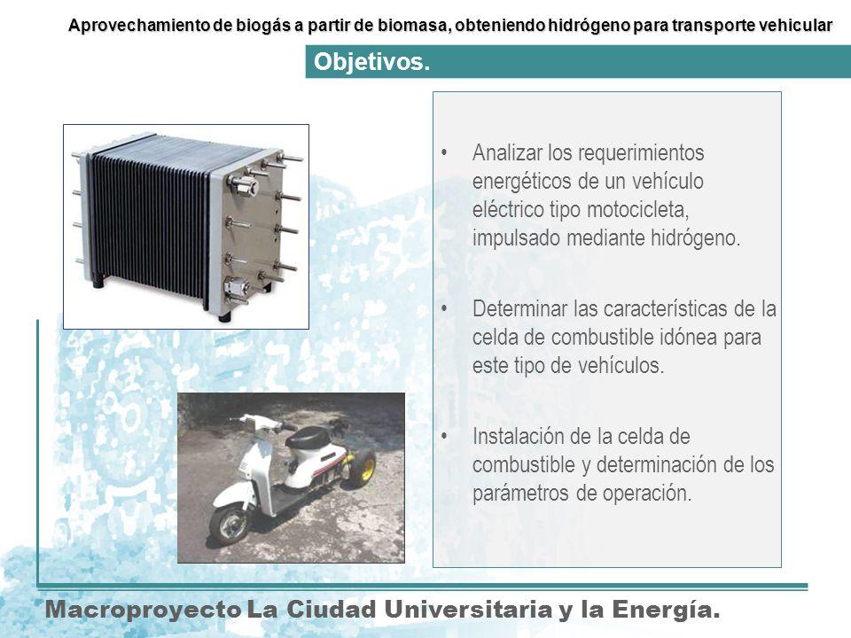 Analizar los requerimientos energéticos de un vehículo eléctrico tipo motocicleta, impulsado mediante hidrógeno.