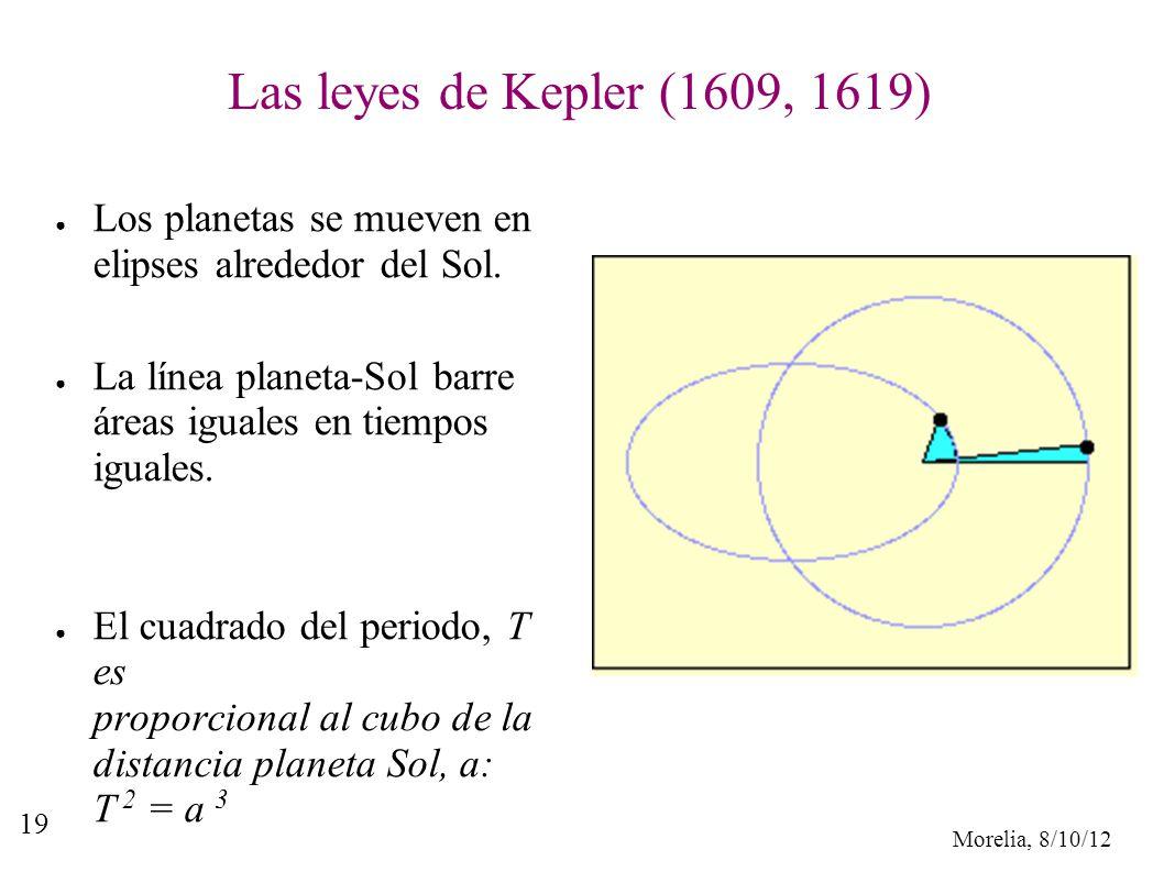 Morelia, 8/10/12 19 Las leyes de Kepler (1609, 1619) Los planetas se mueven en elipses alrededor del Sol. La línea planeta-Sol barre áreas iguales en