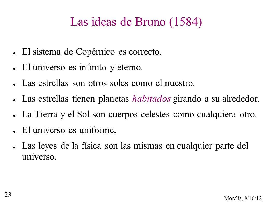 Morelia, 8/10/12 23 Las ideas de Bruno (1584) El sistema de Copérnico es correcto. El universo es infinito y eterno. Las estrellas son otros soles com