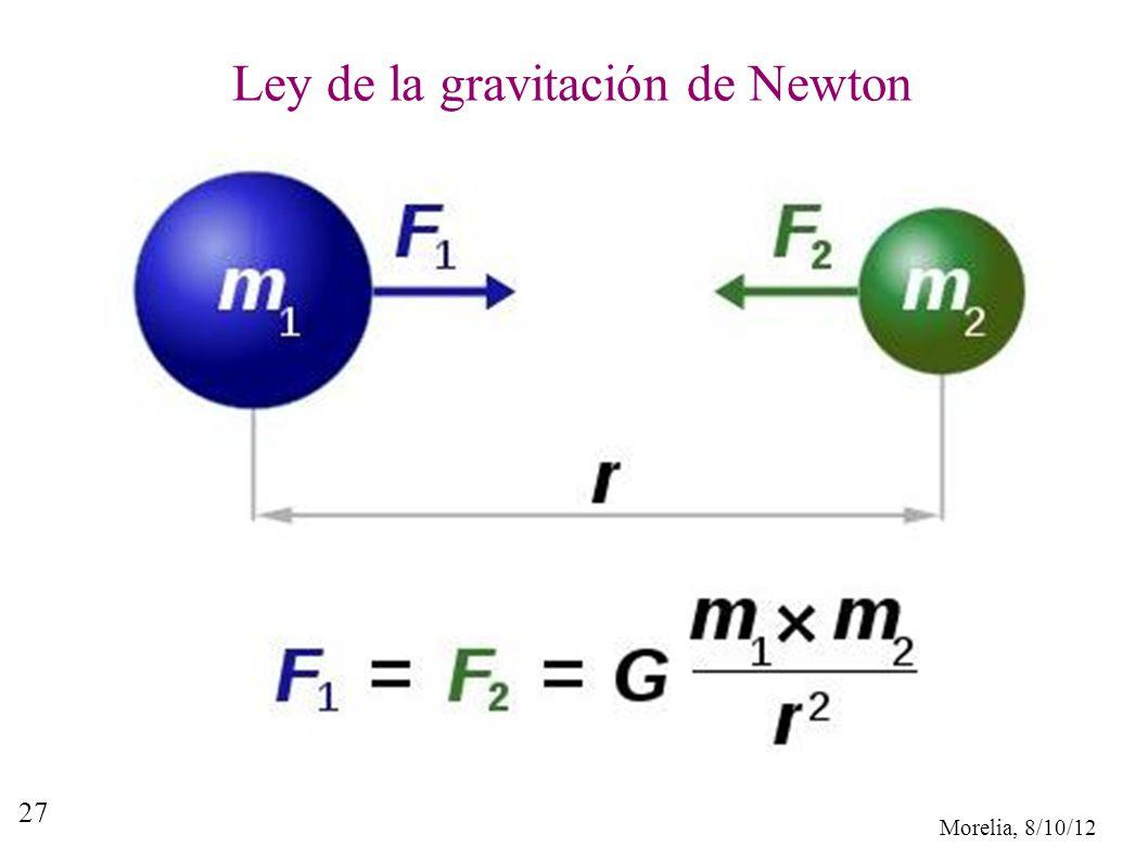 Morelia, 8/10/12 27 Ley de la gravitación de Newton