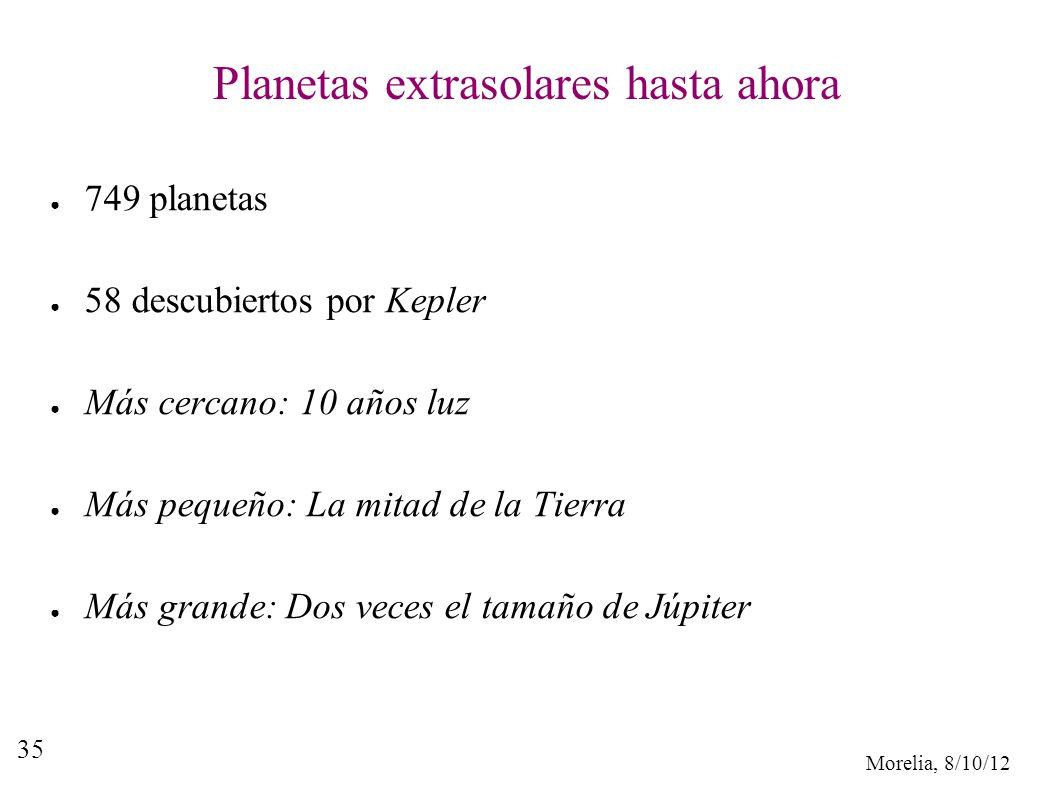 Morelia, 8/10/12 35 Planetas extrasolares hasta ahora 749 planetas 58 descubiertos por Kepler Más cercano: 10 años luz Más pequeño: La mitad de la Tie