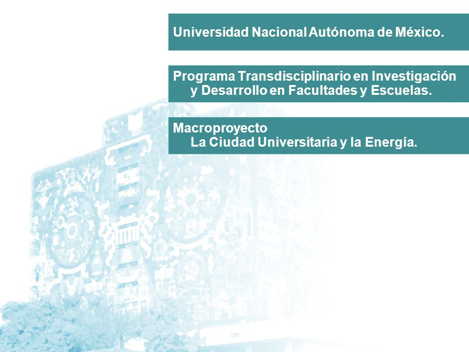 Programa Transdisciplinario en Investigación y Desarrollo en Facultades y Escuelas. Macroproyecto La Ciudad Universitaria y la Energía. Universidad Na