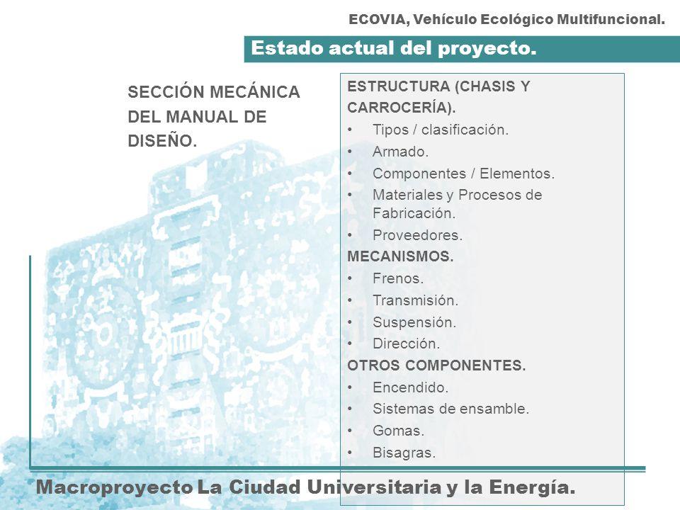 Estado actual del proyecto. Macroproyecto La Ciudad Universitaria y la Energía. ESTRUCTURA (CHASIS Y CARROCERÍA). Tipos / clasificación. Armado. Compo
