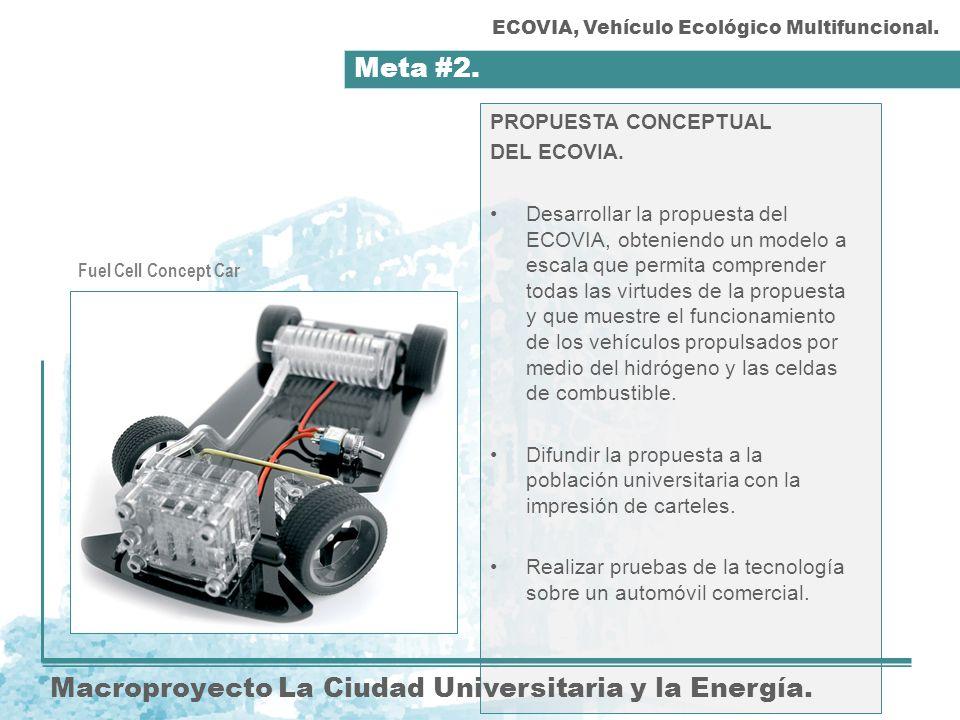 Meta #2. Macroproyecto La Ciudad Universitaria y la Energía. PROPUESTA CONCEPTUAL DEL ECOVIA. Desarrollar la propuesta del ECOVIA, obteniendo un model