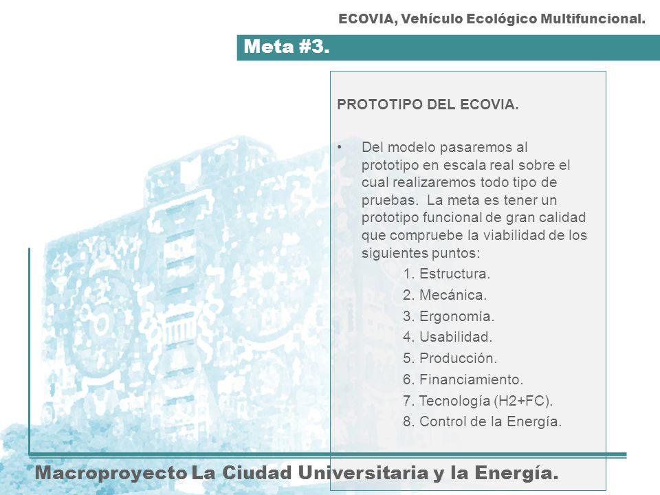 Meta #3. Macroproyecto La Ciudad Universitaria y la Energía. PROTOTIPO DEL ECOVIA. Del modelo pasaremos al prototipo en escala real sobre el cual real