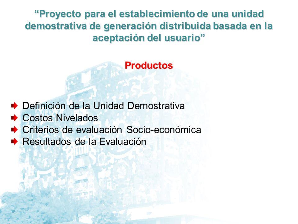 Proyecto para el establecimiento de una unidad demostrativa de generación distribuida basada en la aceptación del usuario Inversiones y Parámetros de Beneficio-Costo Criterio Económico-Social-Ambiental Evaluación Económica: Revisión y adaptación del método de cálculo del Costo nivelado Pruebas de obtención del costo nivelado para un ejemplo de energía fotovoltaica Evaluación Social: (Producto de la investigación de campo)