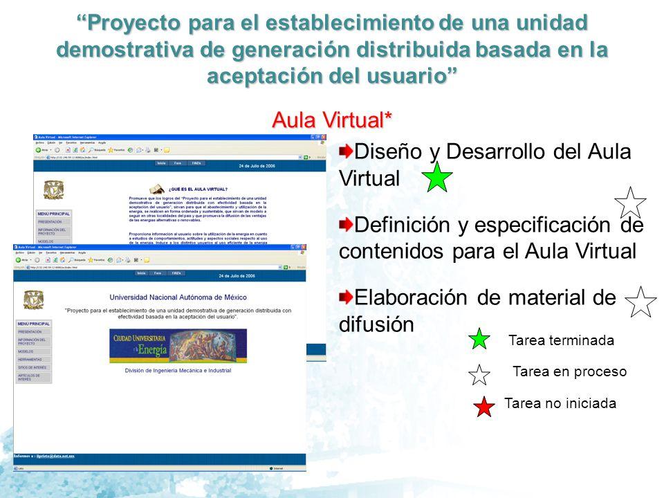 Proyecto para el establecimiento de una unidad demostrativa de generación distribuida basada en la aceptación del usuario Productos Definición de la Unidad Demostrativa Costos Nivelados Criterios de evaluación Socio-económica Resultados de la Evaluación