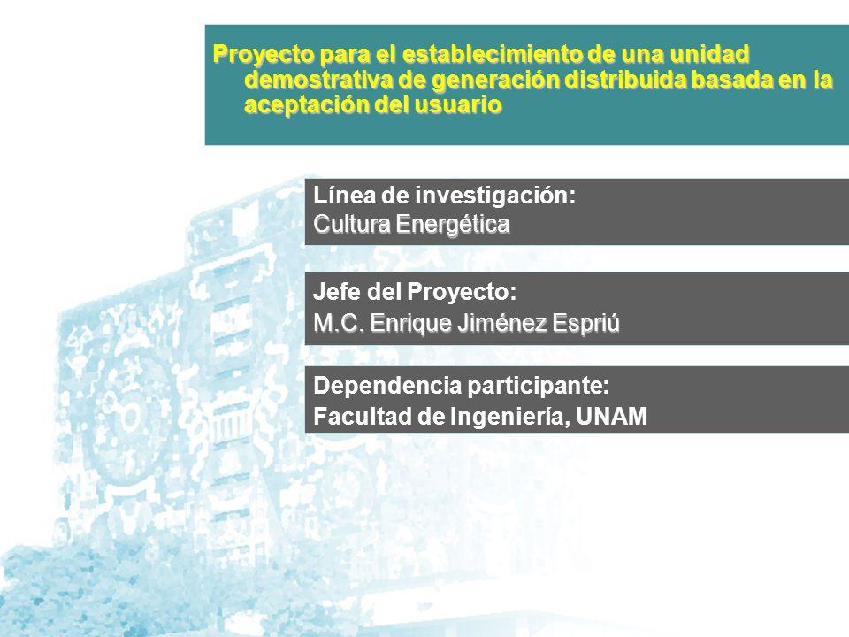 Línea de investigación: Cultura Energética Jefe del Proyecto: M.C.