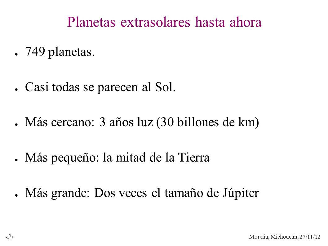 Morelia, Michoacán, 27/11/12 23 Planetas extrasolares hasta ahora 749 planetas. Casi todas se parecen al Sol. Más cercano: 3 años luz (30 billones de