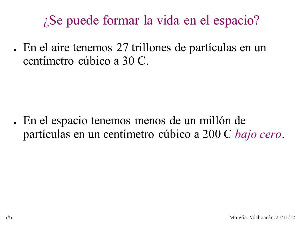 Morelia, Michoacán, 27/11/12 27 ¿Se puede formar la vida en el espacio? En el aire tenemos 27 trillones de partículas en un centímetro cúbico a 30 C.