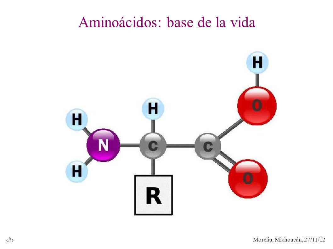 Morelia, Michoacán, 27/11/12 31 Aminoácidos: base de la vida