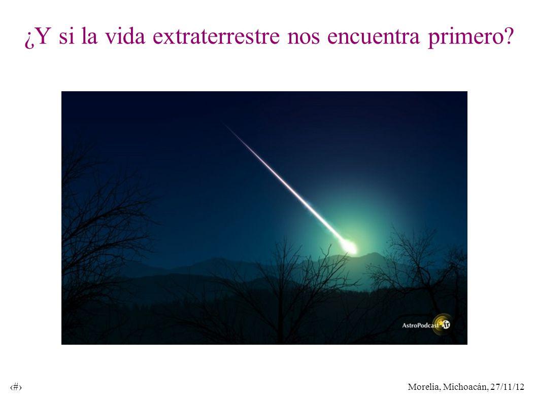 Morelia, Michoacán, 27/11/12 33 ¿Y si la vida extraterrestre nos encuentra primero