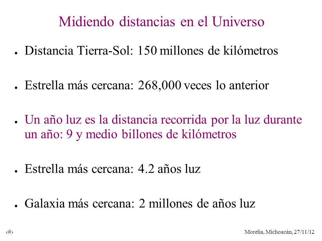 Morelia, Michoacán, 27/11/12 35 Midiendo distancias en el Universo Distancia Tierra-Sol: 150 millones de kilómetros Estrella más cercana: 268,000 veces lo anterior Un año luz es la distancia recorrida por la luz durante un año: 9 y medio billones de kilómetros Estrella más cercana: 4.2 años luz Galaxia más cercana: 2 millones de años luz