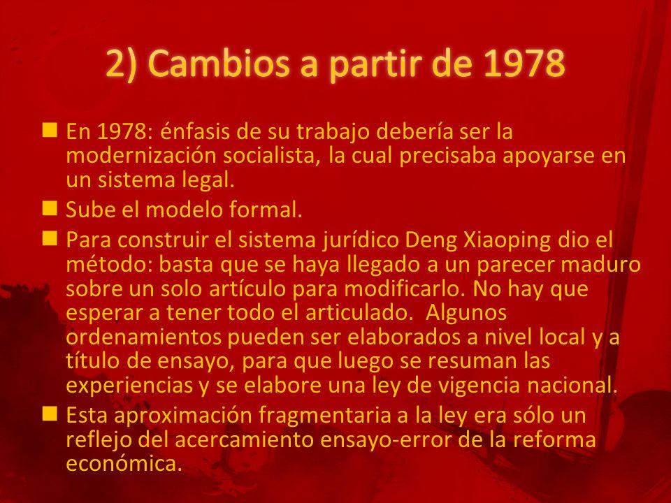 En 1978: énfasis de su trabajo debería ser la modernización socialista, la cual precisaba apoyarse en un sistema legal.