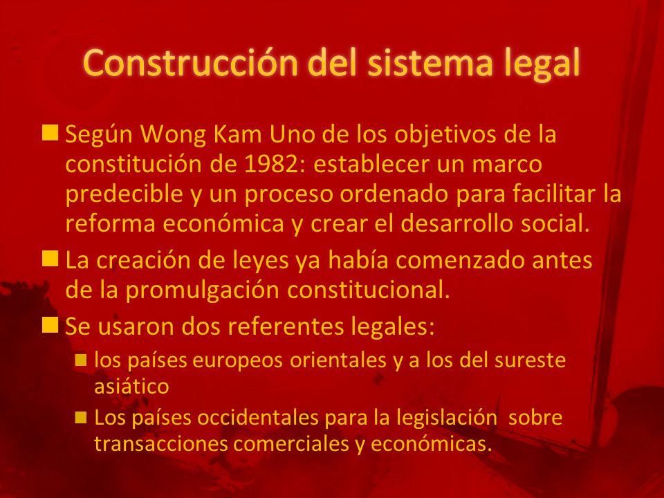 Según Wong Kam Uno de los objetivos de la constitución de 1982: establecer un marco predecible y un proceso ordenado para facilitar la reforma económica y crear el desarrollo social.