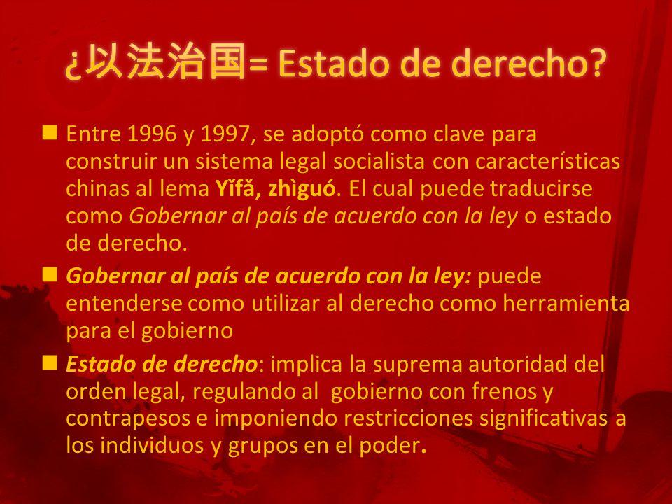 Entre 1996 y 1997, se adoptó como clave para construir un sistema legal socialista con características chinas al lema Yǐfǎ, zhìguó.