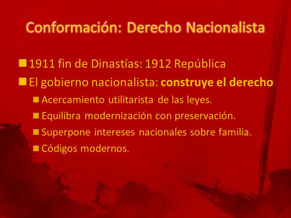 1911 fin de Dinastías: 1912 República El gobierno nacionalista: construye el derecho Acercamiento utilitarista de las leyes.