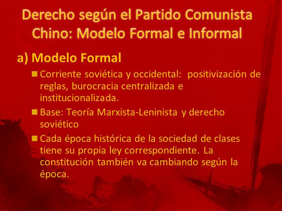 a) Modelo Formal Corriente soviética y occidental: positivización de reglas, burocracia centralizada e institucionalizada.