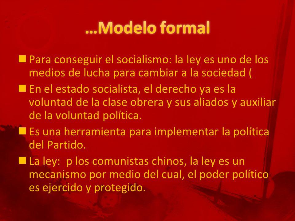 Para conseguir el socialismo: la ley es uno de los medios de lucha para cambiar a la sociedad ( En el estado socialista, el derecho ya es la voluntad de la clase obrera y sus aliados y auxiliar de la voluntad política.