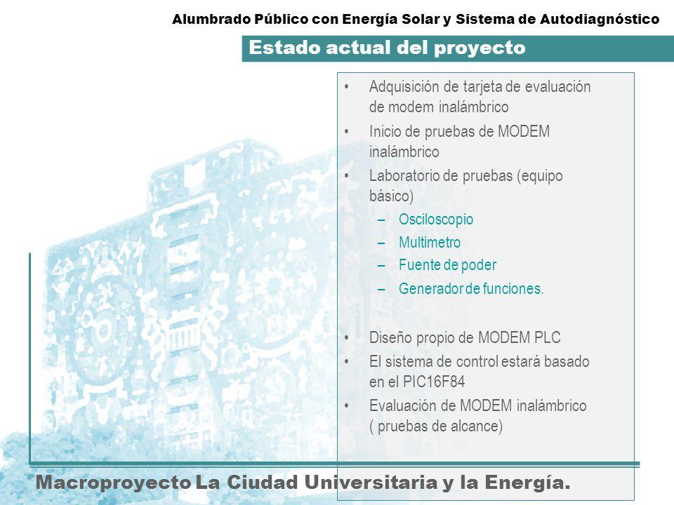 Estado actual del proyecto. Macroproyecto La Ciudad Universitaria y la Energía. Adquisición de tarjeta de evaluación de modem inalámbrico Inicio de pr