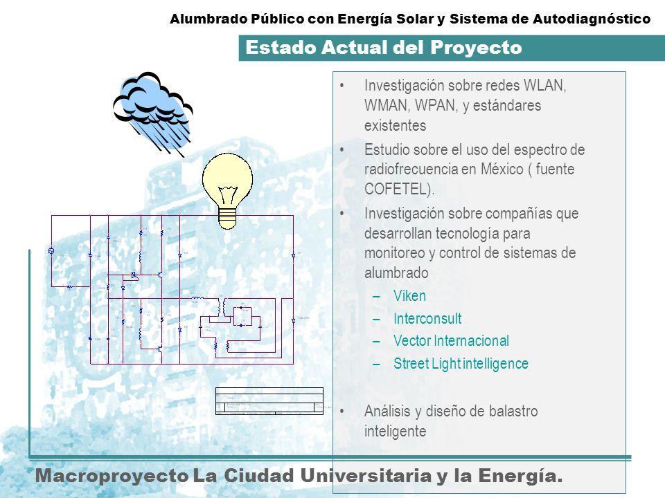 Estado actual del proyecto. Macroproyecto La Ciudad Universitaria y la Energía. Investigación sobre redes WLAN, WMAN, WPAN, y estándares existentes Es