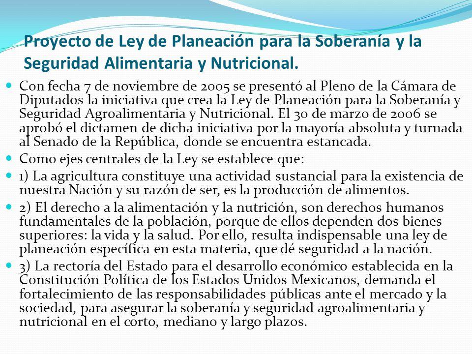 Proyecto de Ley de Planeación para la Soberanía y la Seguridad Alimentaria y Nutricional. Con fecha 7 de noviembre de 2005 se presentó al Pleno de la