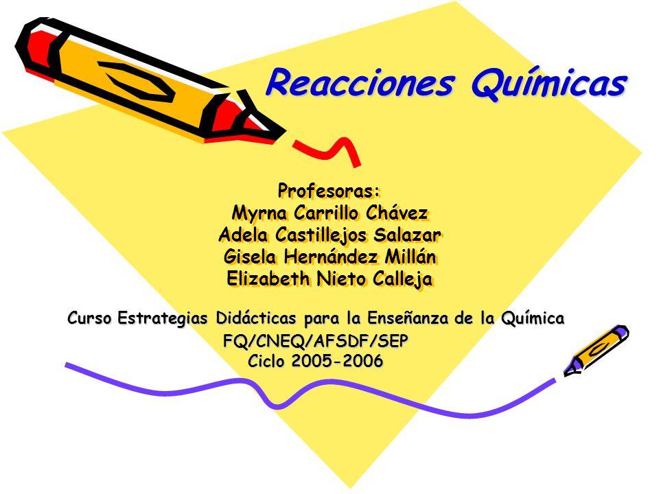 Profesoras: Myrna Carrillo Chávez Adela Castillejos Salazar Gisela Hernández Millán Elizabeth Nieto Calleja Curso Estrategias Didácticas para la Enseñanza de la Química FQ/CNEQ/AFSDF/SEP Ciclo 2005-2006 Reacciones Químicas