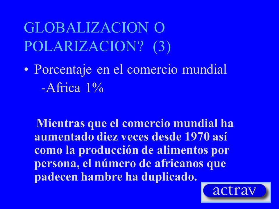 GLOBALIZACION O POLARIZACION? (2) Distribución del ingreso –1/5 de la población mundial controla el 80% de los recursos mundiales –el 20% de la poblac