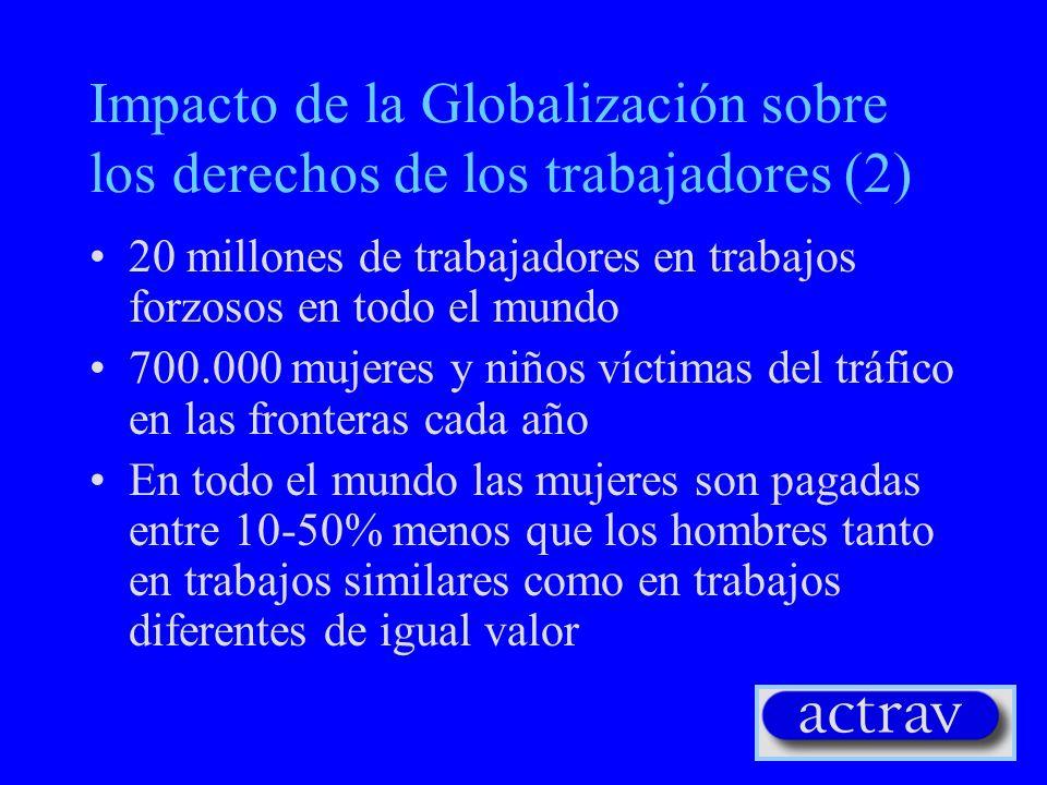 Impacto de la Globalización sobre los derechos de los trabajadores (1) 300 huelgas reprimidas por los patrones o la policía, en casi 90 países cerca de 8.500 arrestados o detenidos 209 sindicalistas matados o desaparecidos Más de 100.000 acosados 20.000 despedidos debido a sus actividades sindicales