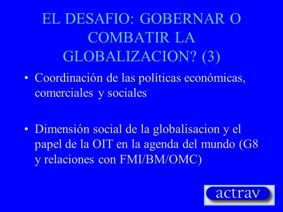 EL DESAFIO: GOBERNAR O COMBATIR LA GLOBALIZACION? (2) Red sindical y solidaridad global Globalización de los derechos de los trabajadores: la Declarac